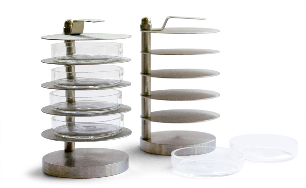 LAB-102-025 + LAB-102-021: dish holder + sample dish in Pyrex®